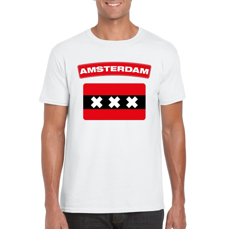 T-shirt wit Amsterdam vlag wit heren