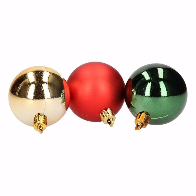 Traditional Christmas kerstbal pakket groen en rood