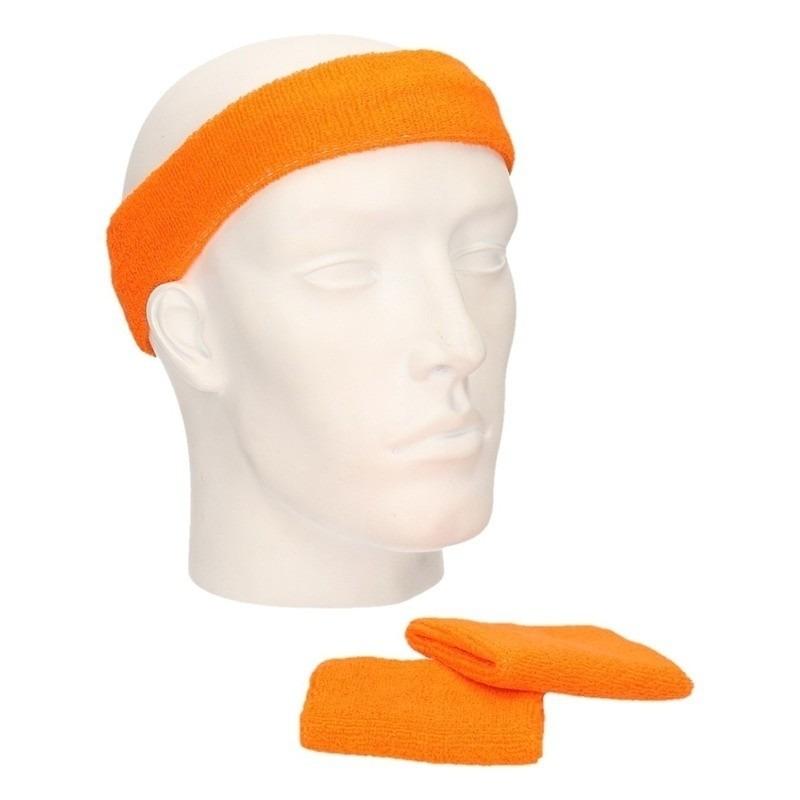 Voordeelset hoofdband en polsbandjes oranje