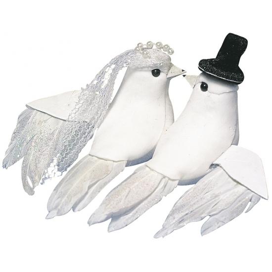Witte decoratie duiven huwelijk 8 cm