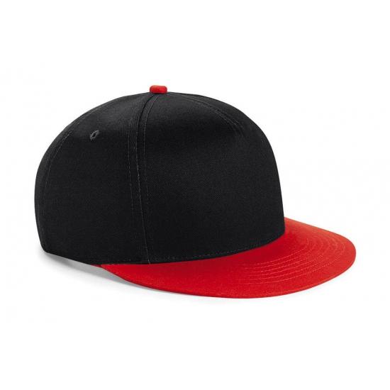 Zwart/rode retro baseball cap voor kinderen