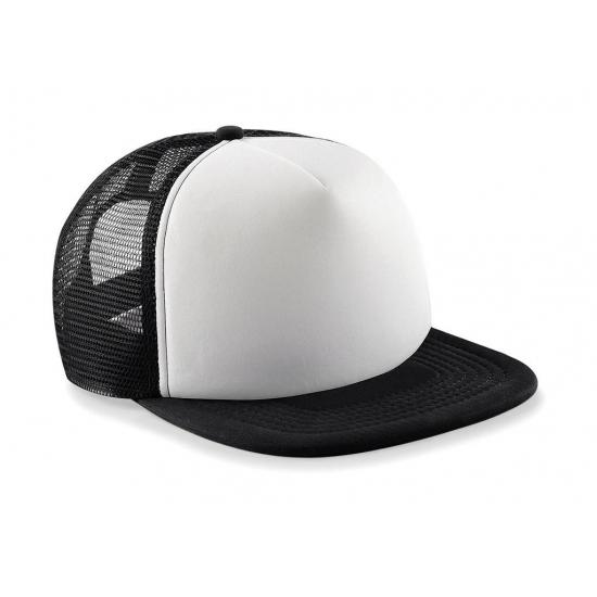 Zwart/witte vintage baseball cap voor kinderen