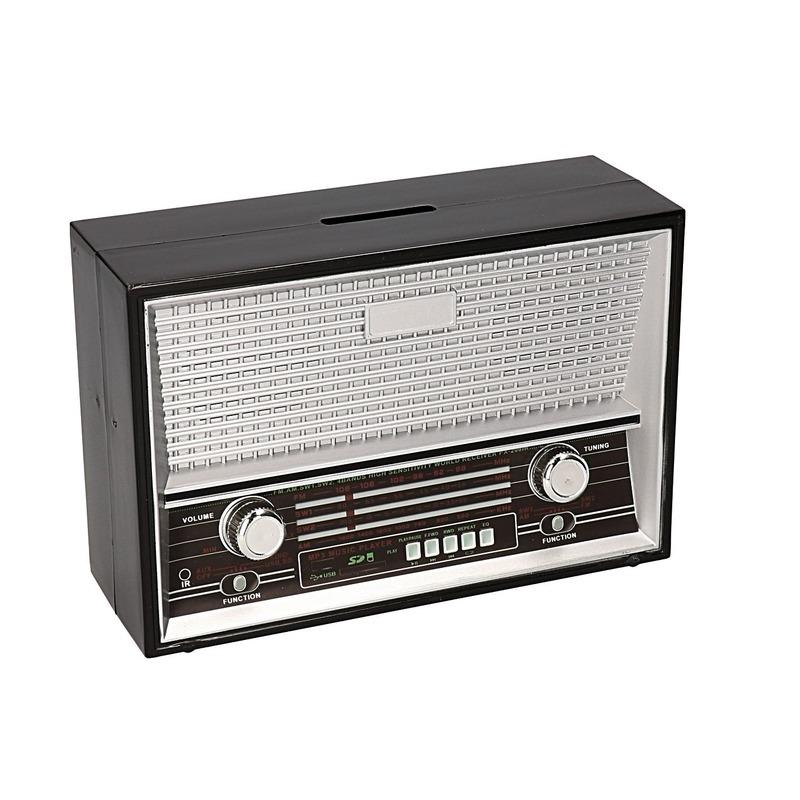 Zwarte spaarpot radio vorm 18 cm