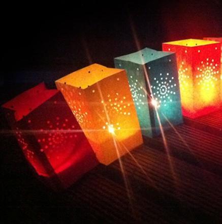 Gekleurde candle bags set 26  cm