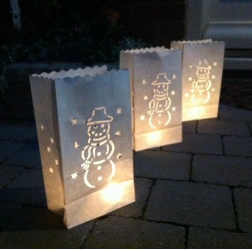 Candle Bag set Sneeuwpop 26 cm