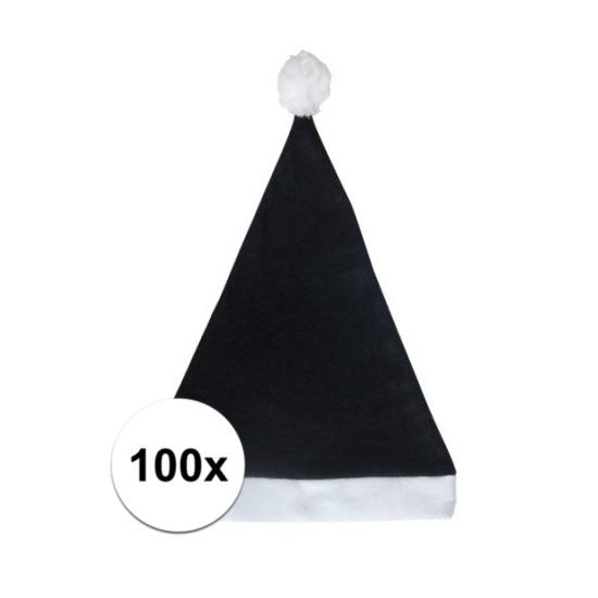 100x Klassieke kerstmuts zwart voor volwassenen