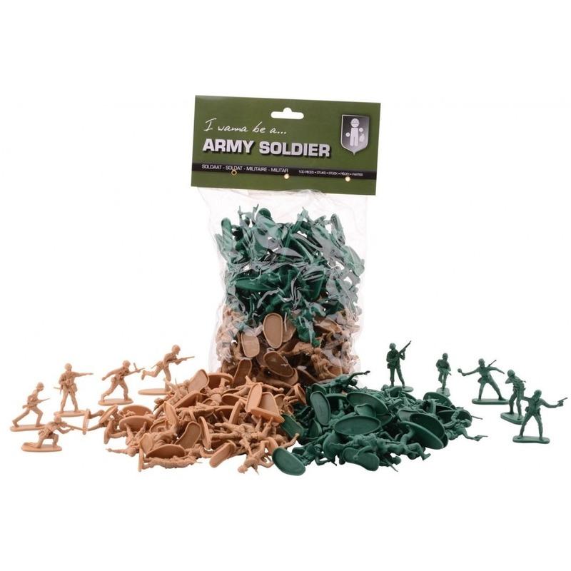 100x Plastic soldaat speelfiguren