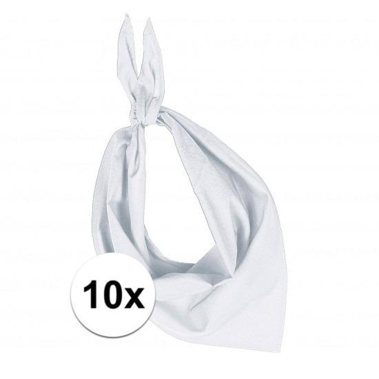 10x Bandana zakdoeken wit