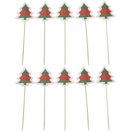 10x Kerst steker hout met kerstboom 34 cm