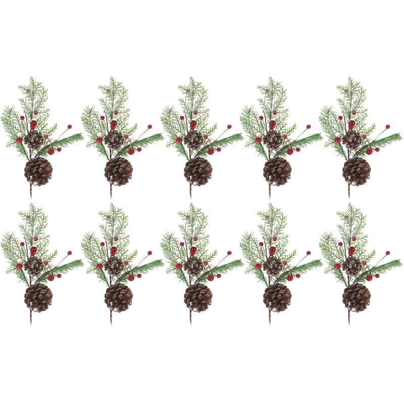 10x Kerststukje instekertjes 28 cm