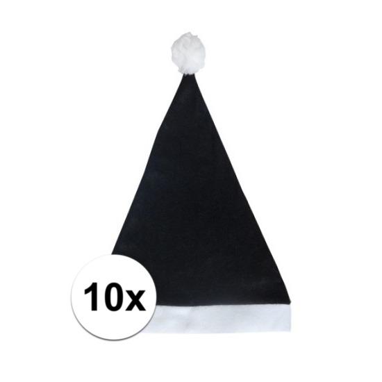 10x Klassieke kerstmuts zwart voor volwassenen