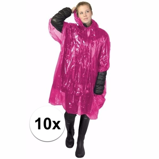 10x roze regen ponchos voor volwassenen