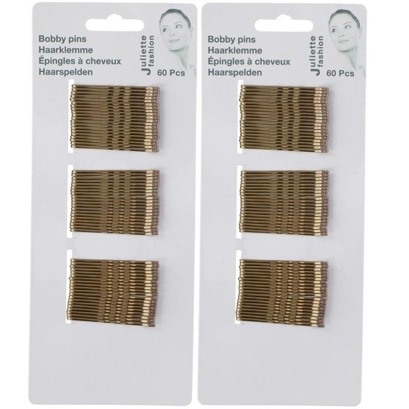 120x Haarspeldjes/schuifspeldjes in de kleur goud