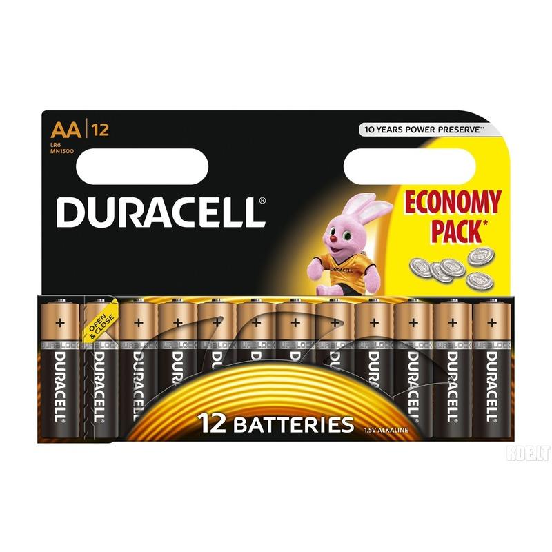 12x Duracell AA batterijen alkaline 1.5 V