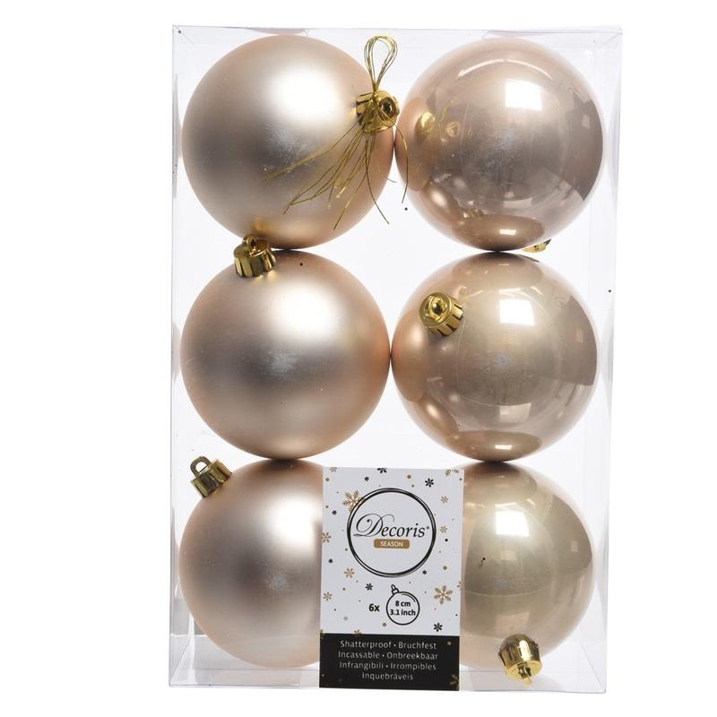 12x Kerstboom ballen creme 8 cm