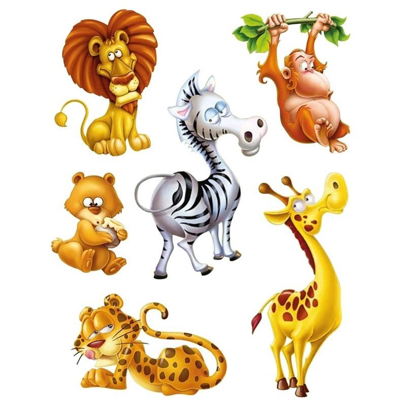 12x Raamstickers jungle dieren raamdecoratie