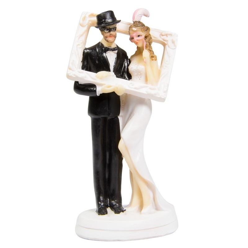 14cm taartdecoratie bruidspaar fotolijst