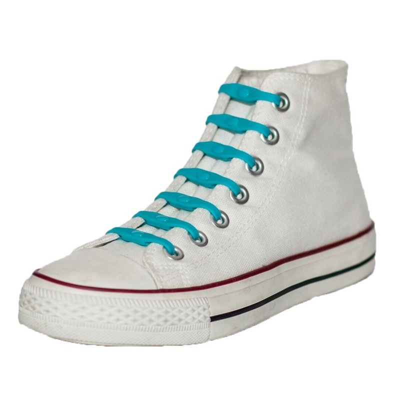 14x Veters strikken hulp aqua blauwe elastische/elastieken schoenveters voor kinderen/dames/heren