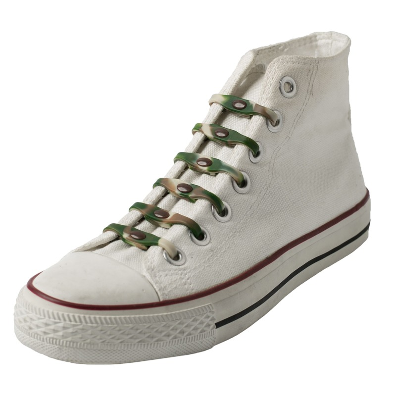 14x Veters strikken hulp camouflage elastische/elastieken schoenveters voor kinderen/dames/heren