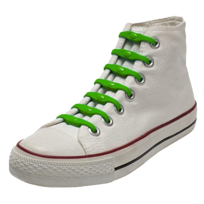 14x Veters strikken hulp groene elastische/elastieken schoenveters voor kinderen/dames/heren