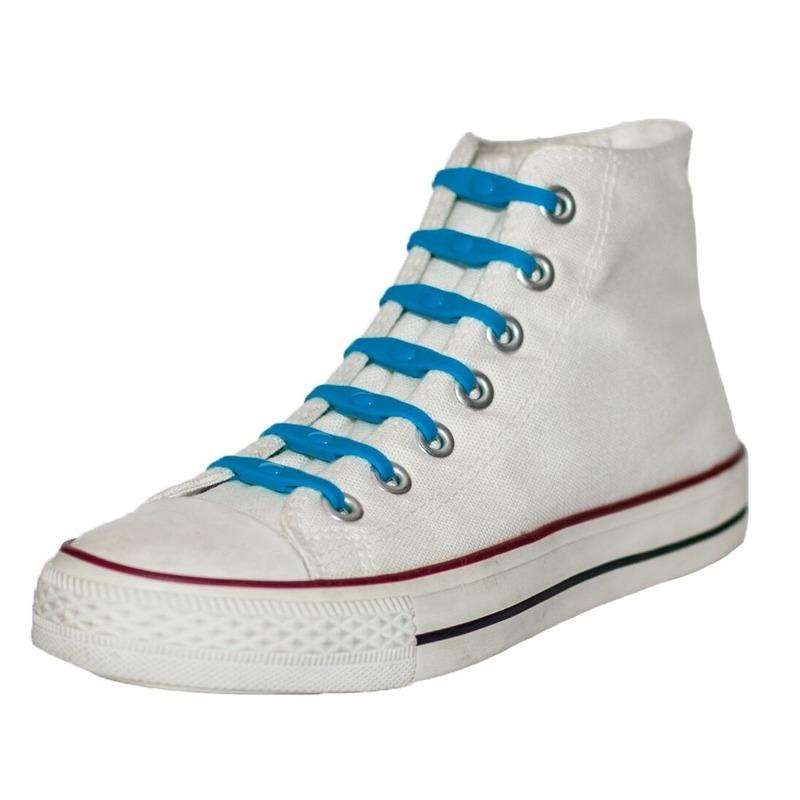 14x Veters strikken hulp kobaltblauwe elastische/elastieken schoenveters voor kinderen/dames/heren