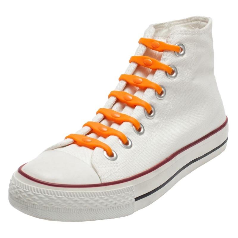 14x Veters strikken hulp oranje elastische/elastieken schoenveters voor kinderen/dames/heren
