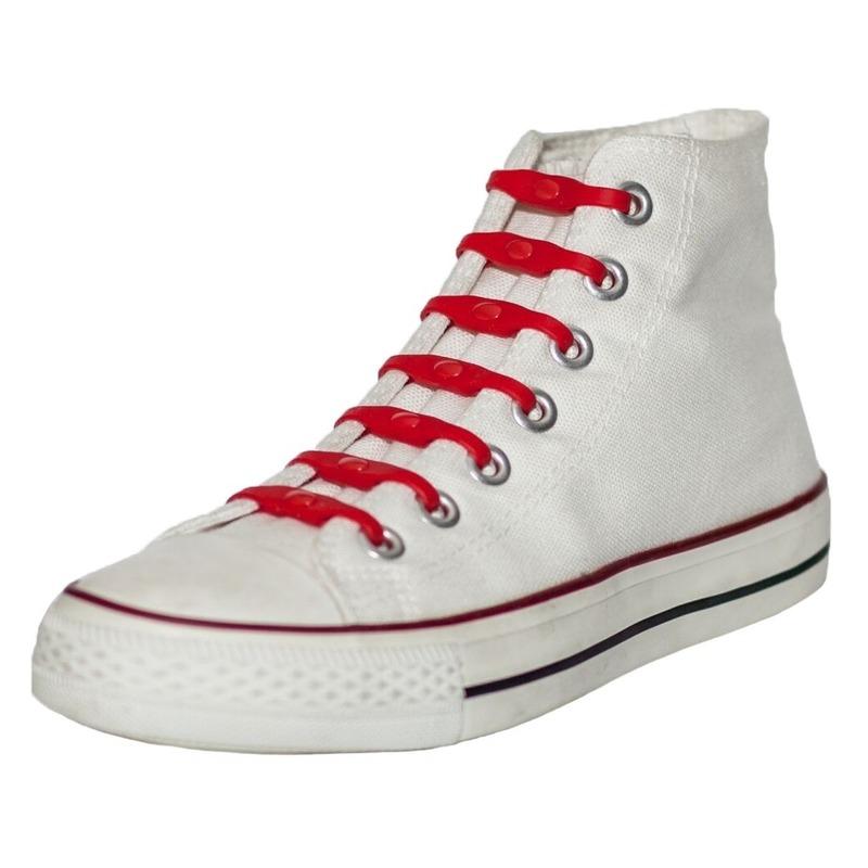 14x Veters strikken hulp rode elastische/elastieken schoenveters voor kinderen/dames/heren