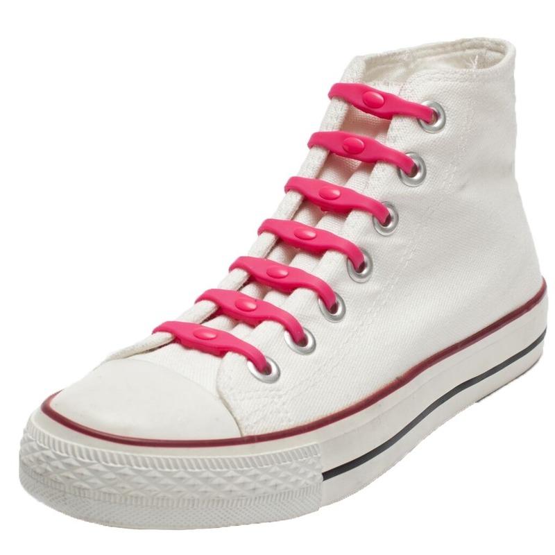 14x Veters strikken hulp roze elastische/elastieken schoenveters voor kinderen/dames/heren