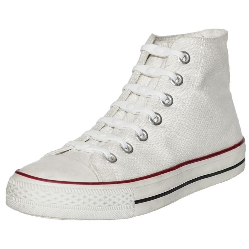 14x Veters strikken hulp wit parel te elastische/elastieken schoenveters voor kinderen/dames/heren