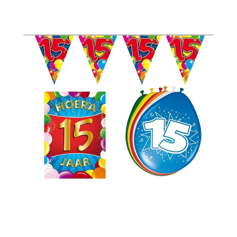 15 jarige/jaar feest versiering setje
