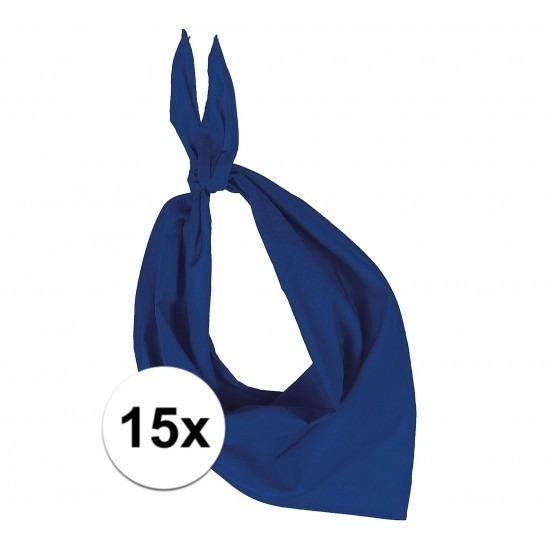 15x Bandana zakdoeken kobalt blauw