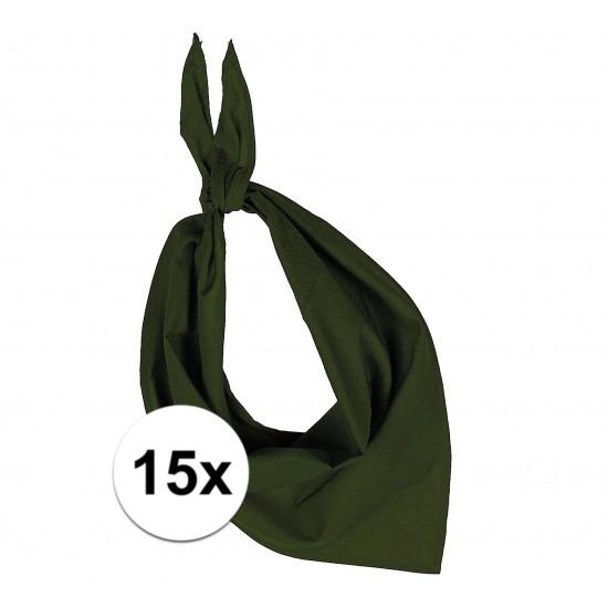 15x Bandana zakdoeken olijf groen