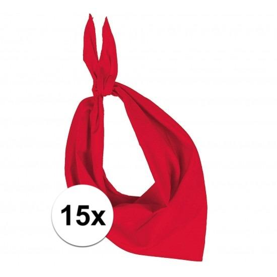 15x Bandana zakdoeken rood