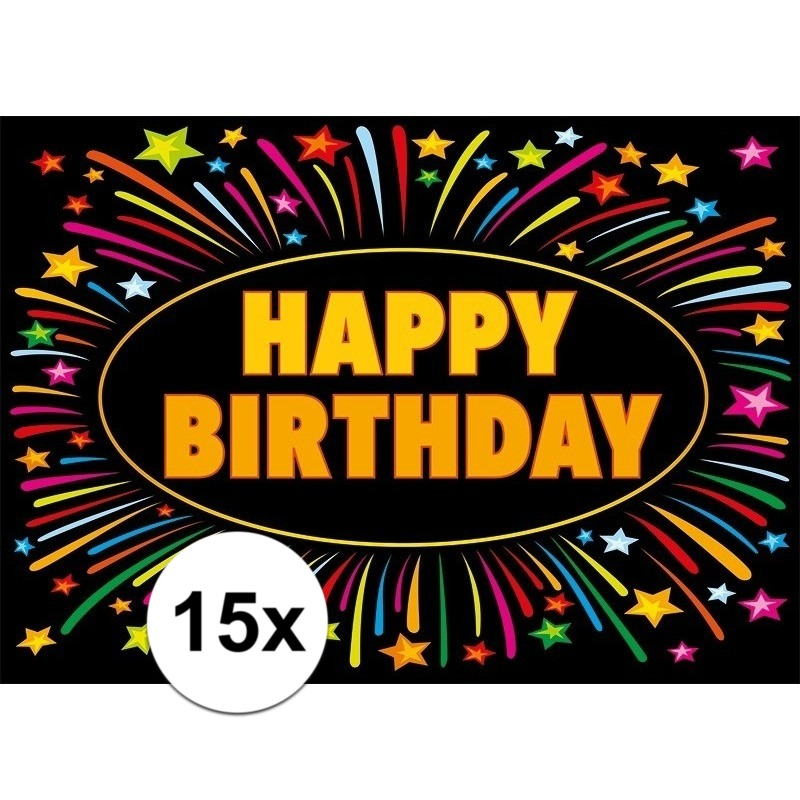 15x Happy Birthday kaarten