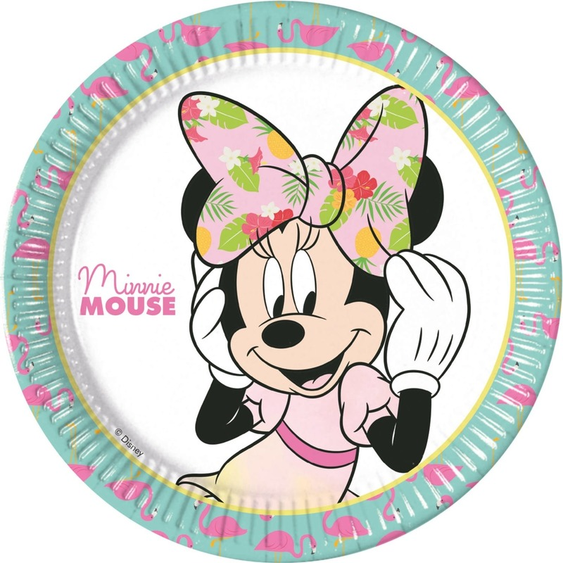 16x Minnie Mouse feestartikelen borden 23 cm papier-karton