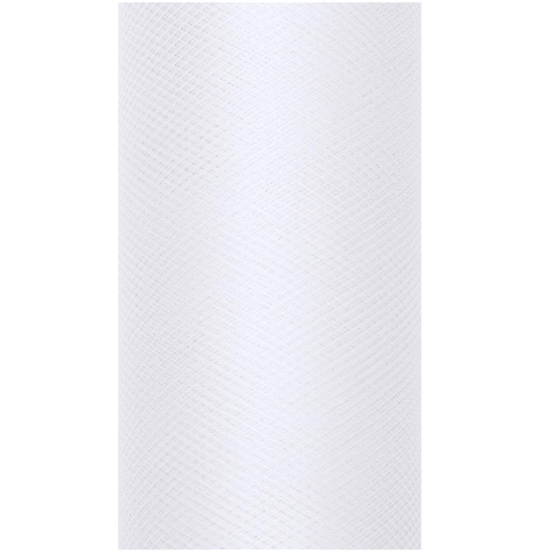 1x Hobby-decoratie witte tule stof op rol 15 cm x 9 meter