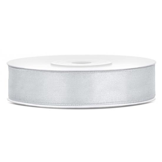 1x Hobby-decoratie zilver satijnen sierlint 1,2 cm-12 mm x 25 meter