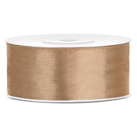 1x Hobby-decoration goud satin ribbon 1.5 cm-25 mm x 25 meters