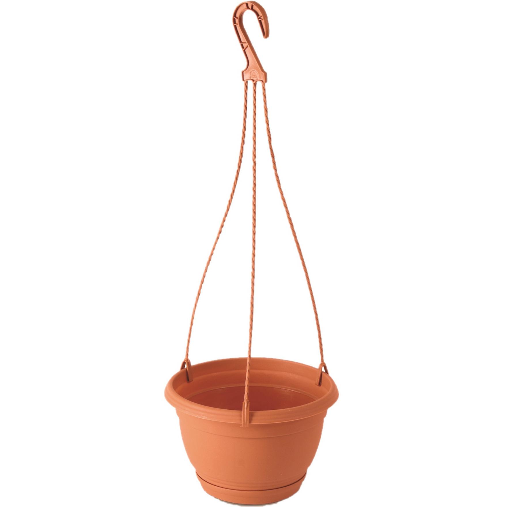 1x Stuks hangende kunststof Agro terracotta bloempot-plantenpot met schotel 3 liter