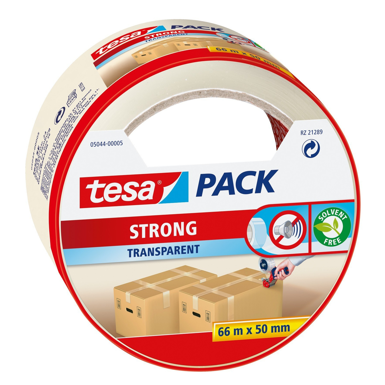 1x Tesa dozen afsluit tape transparant 66 mtr x 50 mm
