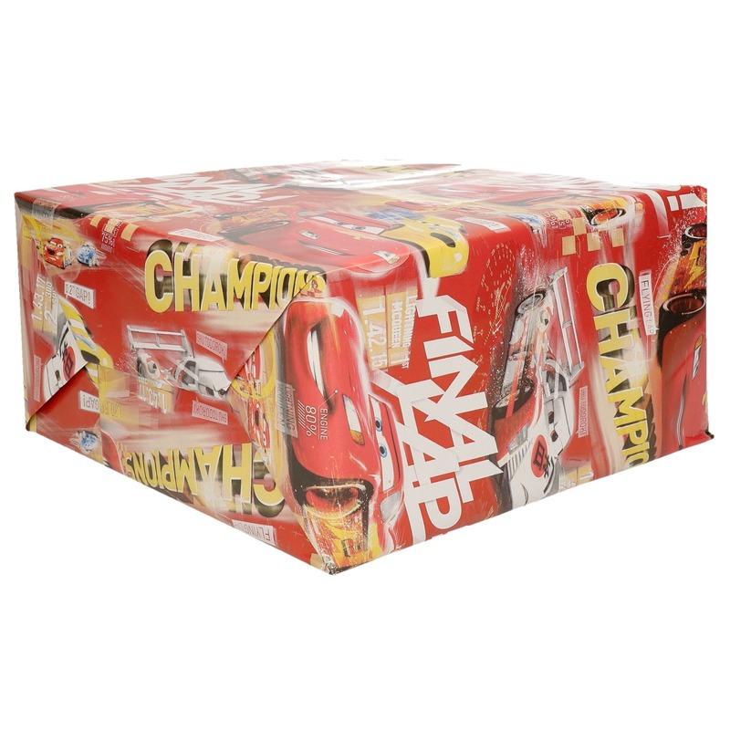 1xRollen Disney rood inpakpapier Cars champions 200 x 70 cm op rol