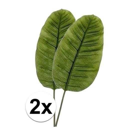2 x Groene bananen blad 92 cm kunstplant takken
