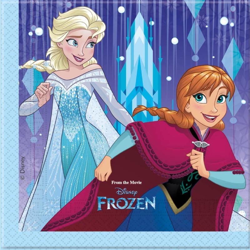 20x Frozen feestartikelen servetjes 33 x 33 cm papier