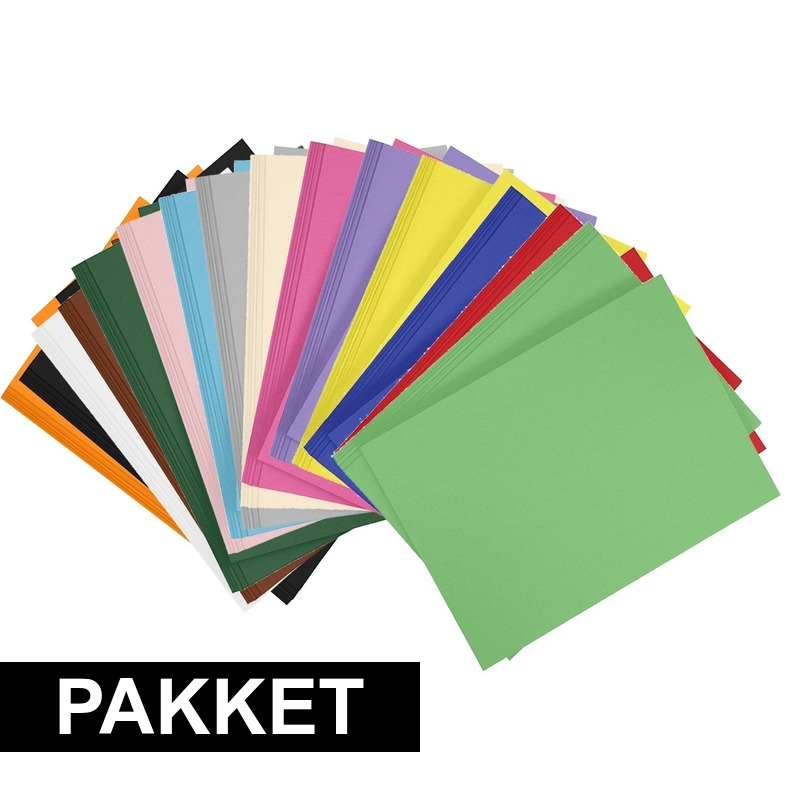 24 stuks A4 hobby karton in alle kleuren