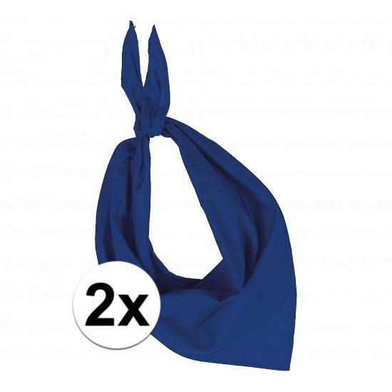 2x Bandana zakdoeken kobalt blauw