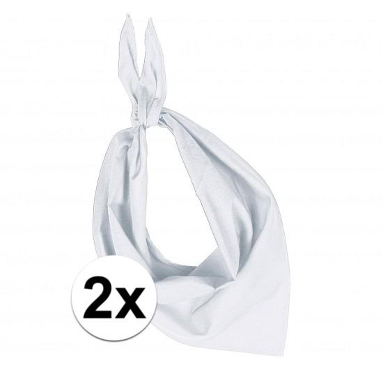 2x Bandana zakdoeken wit