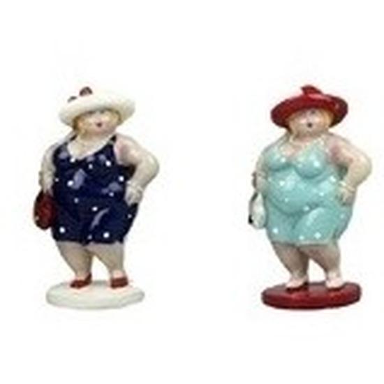 2x Dikke staande dames beeldjes 20 cm in donkerblauwe-lichtblauw