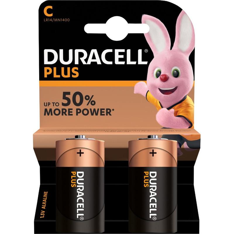 2x Duracell C Plus batterijen alkaline LR14 MN1400 1.5 V