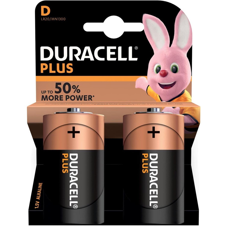 2x Duracell D Plus batterijen alkaline LR20 MN1300 1.5 V