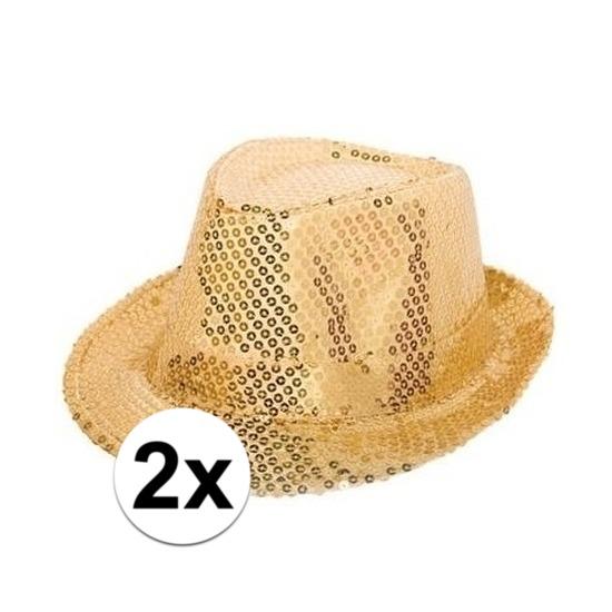 2x Gouden hoedjes met gouden pailletten
